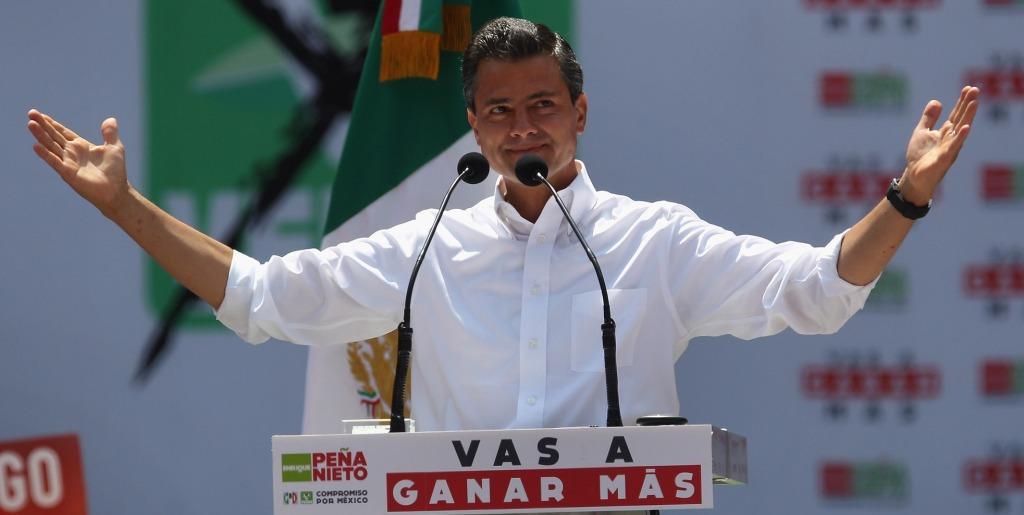 PRI candidate Enrique Pena Nieto campaigns in Mexico City. Pena Nieto is heavily favored in Mexico's presidential election on Sunday.